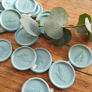 Fulham BLUE 'Fern' Self Adhesive Wax Seals - THE LITTLE BLUE BRUSH