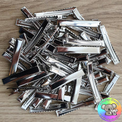 55mm Silver Alligator Hair Clips