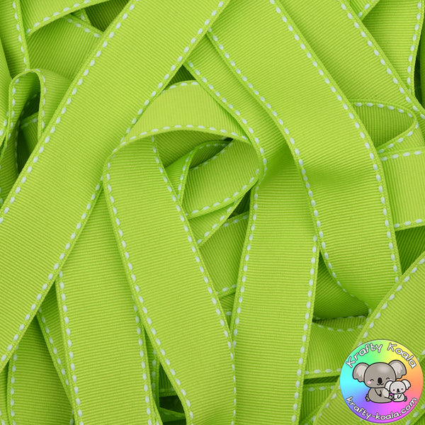 Apple Green Saddle Stitched Grosgrain Ribbon