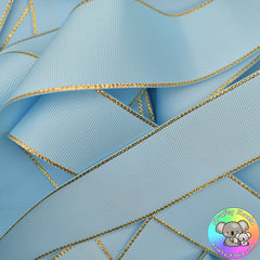 Baby Blue Gold Edged Grosgrain Ribbon