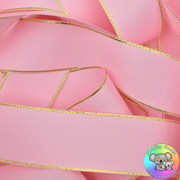 Baby Pink Gold Edged Grosgrain Ribbon