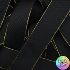 Black Gold Edged Grosgrain Ribbon