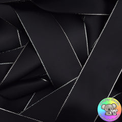 Black Silver Edged Satin Ribbon