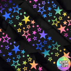 Black Rainbow Stars Ribbon