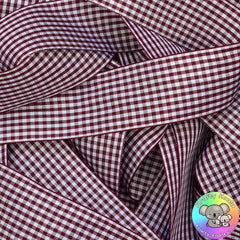 Burgundy Gingham Plaid Ribbon