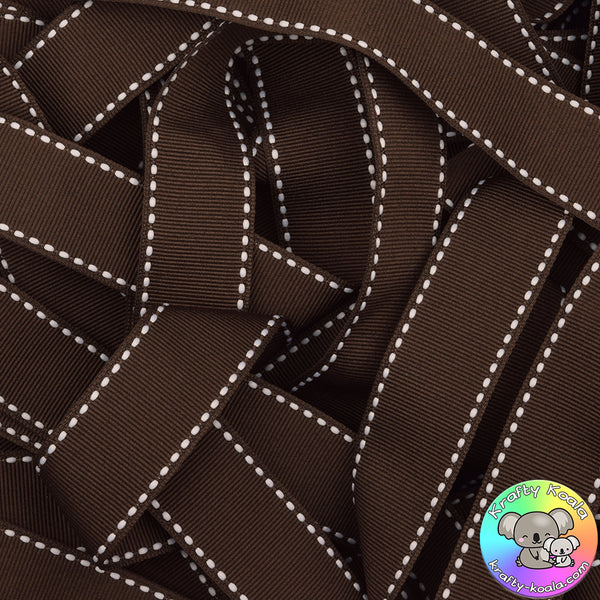 Chocolate Brown Saddle Stitched Grosgrain Ribbon