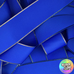 Electric Blue Gold Edged Grosgrain Ribbon