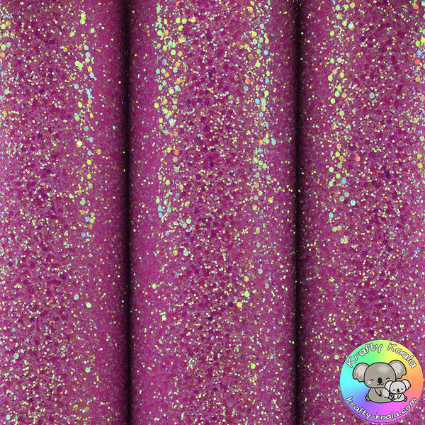 Frosted Hot Pink Ultra Chunky Glitter Fabric