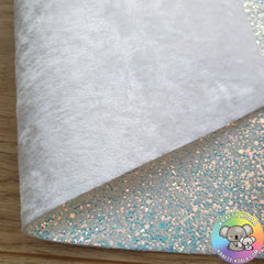Frosty & White Crushed Velvet Double Sided Fabric