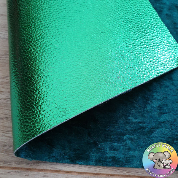 Green Metallic & Crushed Velvet Double Sided Fabric