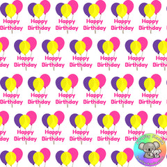 Happy Birthday Balloons Fabric