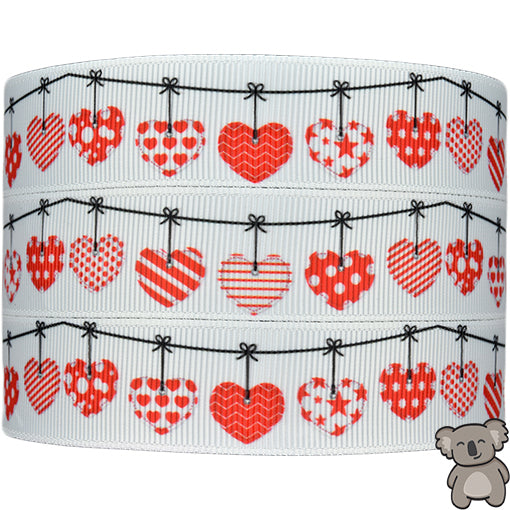 Hearts 7th Design - Patterned Grosgrain Ribbon