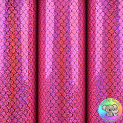 Hot Pink Mermaid Smooth Leatherette Fabric