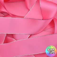 Hot Pink Silver Edged Satin Ribbon