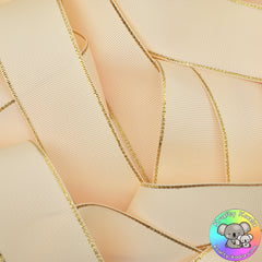 Ivory Cream Gold Edged Grosgrain Ribbon