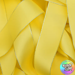 Lemon Yellow Silver Edged Satin Ribbon