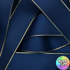 Navy Blue Gold Edged Grosgrain Ribbon