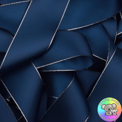 Navy Blue Silver Edged Satin Ribbon