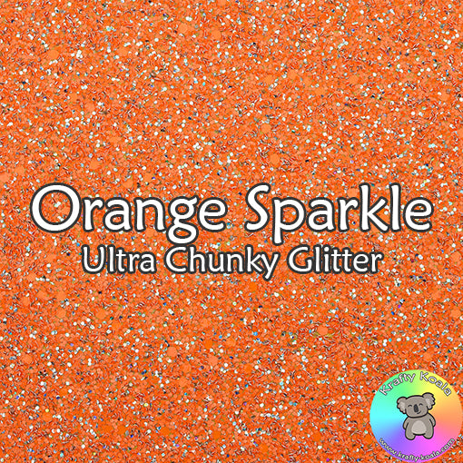 Orange Sparkle Chunky Glitter Fabric