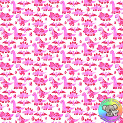 Pink Dinosaurs Fabric