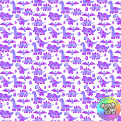 Purple Dinosaurs Fabric