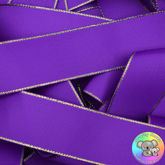 Purple Gold Edged Grosgrain Ribbon