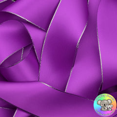 Purple Silver Edged Satin Ribbon