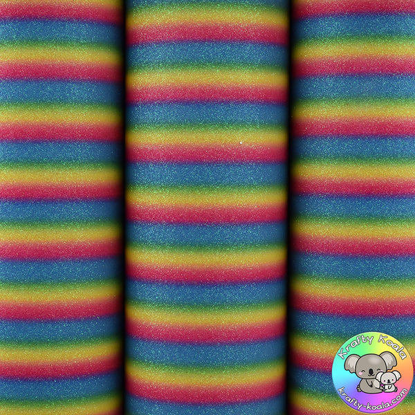 Rainbow Stripes Glitter Fabric