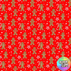 Red Gingerbread Men Fabric