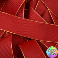 Red Gold Edged Grosgrain Ribbon