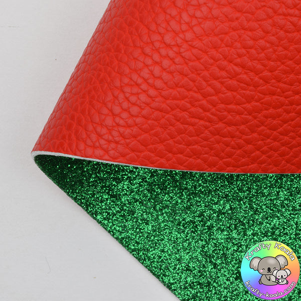 Red Leatherette & Green Double Sided Fabric