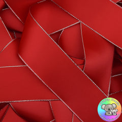 Red Silver Edged Satin Ribbon