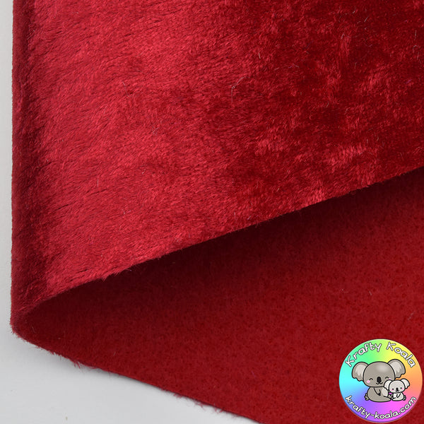 Red Crushed Velvet Fabric Felt