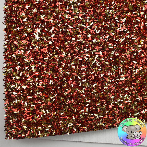 Red & Gold Tinsel Fabric