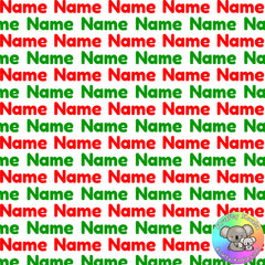 Red & Green Custom Name Fabric