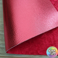 Red Metallic & Crushed Velvet Double Sided Fabric