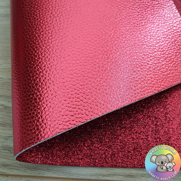 Red Metallic Double Sided Fabric