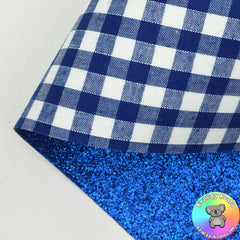 Royal Blue Gingham Double Sided Fabric