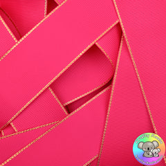 Shocking Pink Gold Edged Grosgrain Ribbon