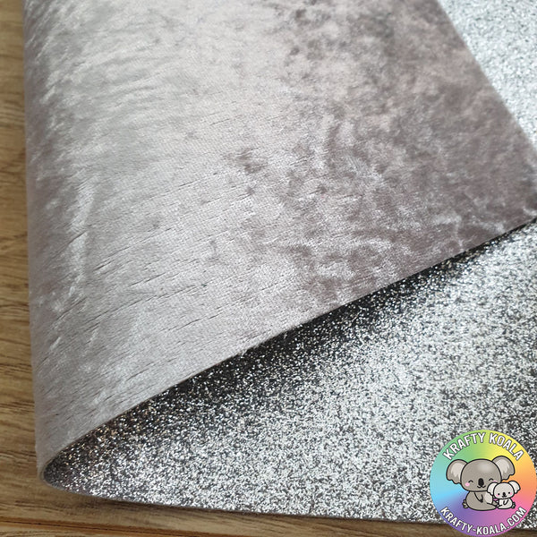 Silver Crushed Velvet Double Sided Fabric