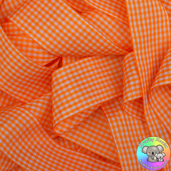 Tangerine Orange Gingham Ribbon
