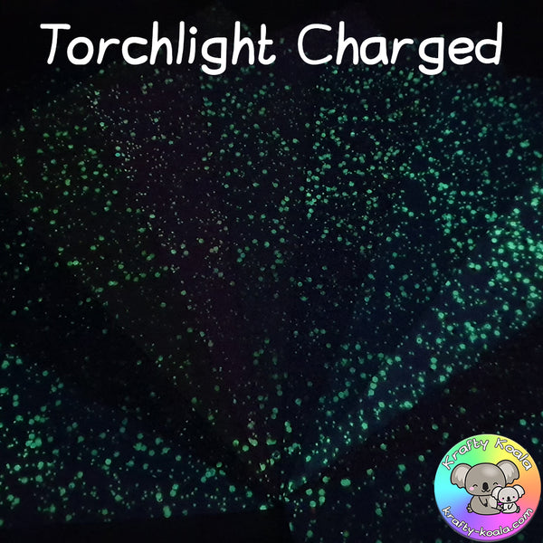 Red Glow In The Dark Chunky Glitter Fabric