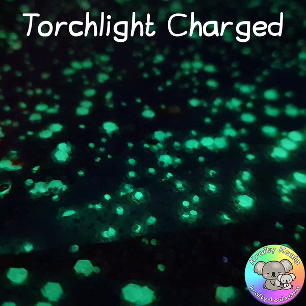 Yellow Glow In The Dark Chunky Glitter Fabric