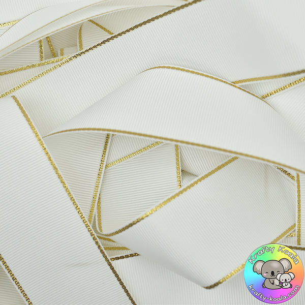White Gold Edged Grosgrain Ribbon