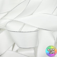 White Silver Edged Satin Ribbon