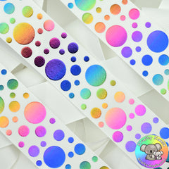 White Rainbow Spots Ribbon