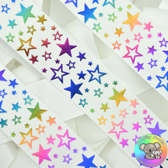 White Rainbow Stars Ribbon