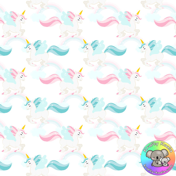 White Unicorns Fabric