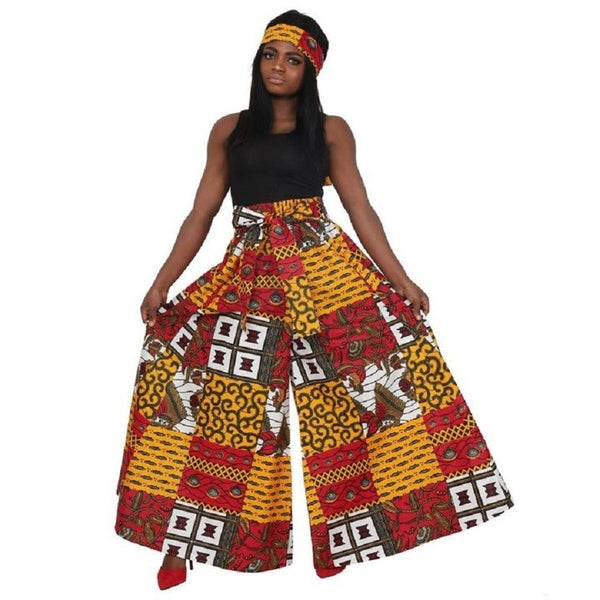 Eyes On You Red & Gold Palazzo Pants  w/Headwrap (One Size)