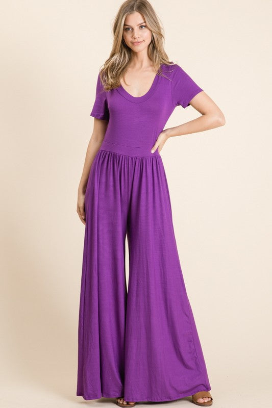 I Am Royalty Short Sleeve Wide Leg Jumpsuit